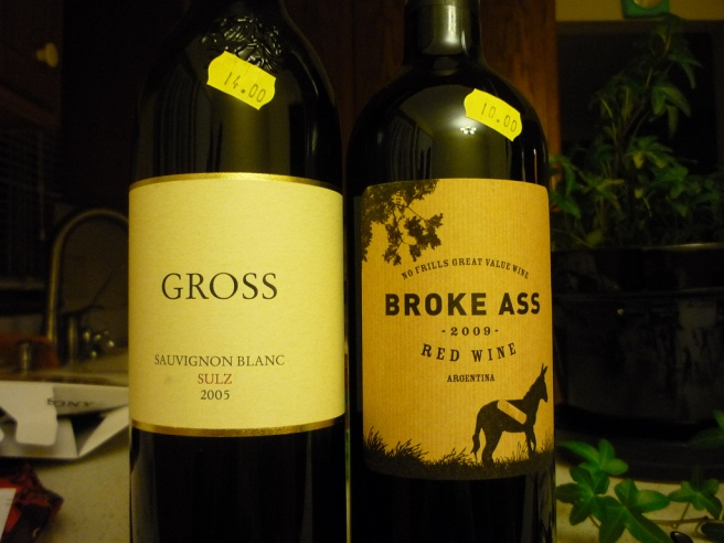 Gross and Broke Ass brand wines