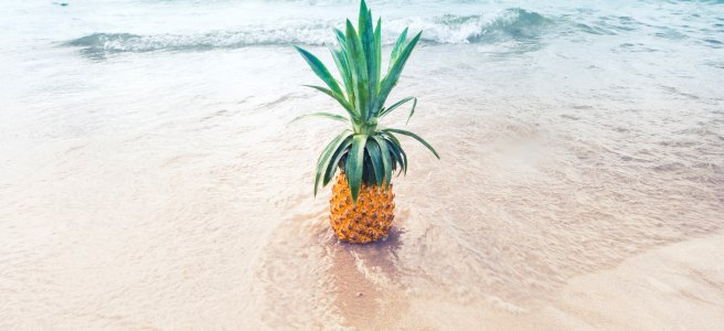 A pineapple on the beach
