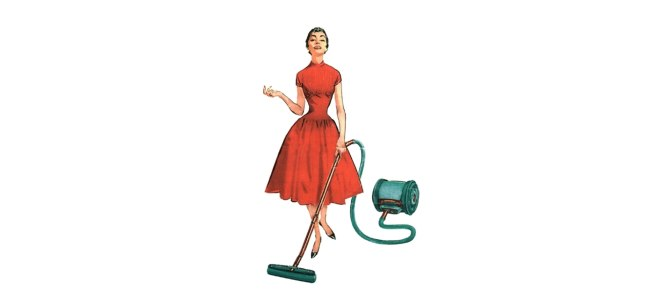 Retro illustration of a woman vacuuming