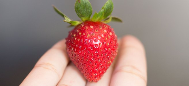 A hand with a fresh strawberry on its palm