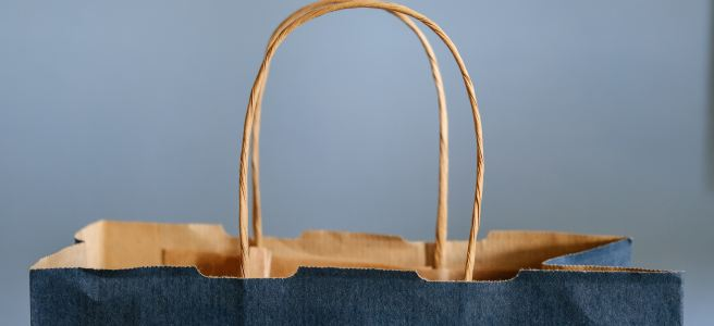 Blue and gold shopping bag